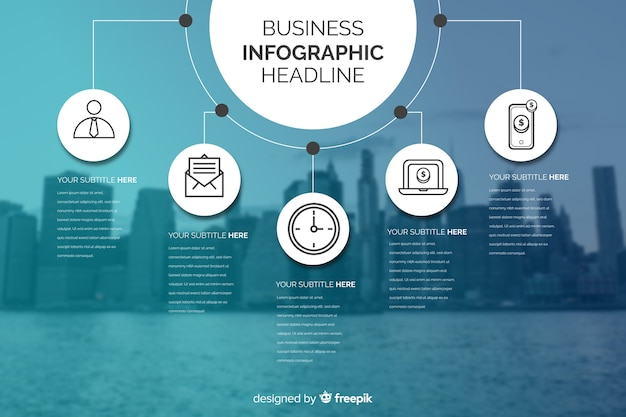 Business infographic with charts and city background