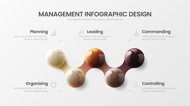 Business infographic with colorful 3d balls