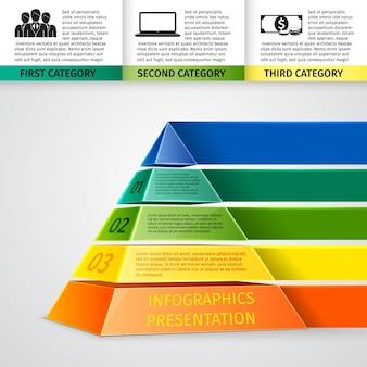 화려한 피라미드와 비즈니스 infographic