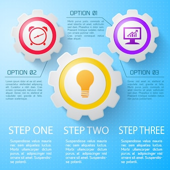 Business infographic with description of steps and options flat