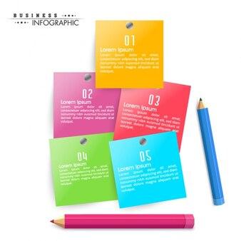 5カラフルな紙のノートとビジネスインフォグラフィック