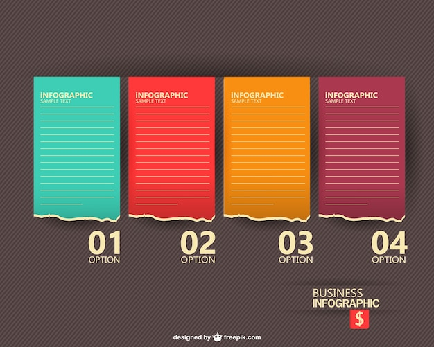 Business infographic with four sheets of paper