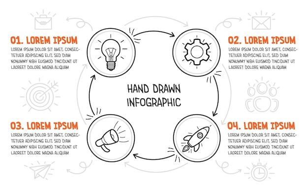 白い背景の上の手描きのアイコンとビジネスインフォグラフィック。スタートアップの4つのステップ。ベクトルイラスト。