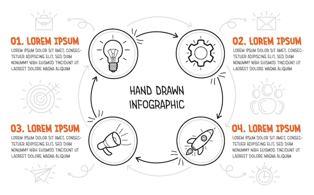 Business infographic with hand drawn icons on white background. four steps of a startup. vector illustration.