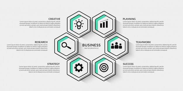 Business infographic with multiple options, outline data visualization workflow for presentation