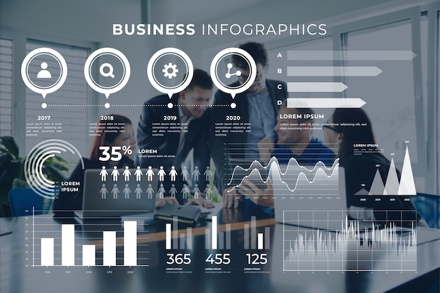 Business infographic with photo