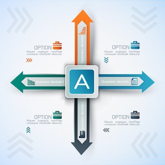 Бизнес-инфографика с квадратом и стрелками в разных направлениях