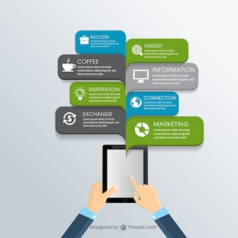 Business infographic with a tablet