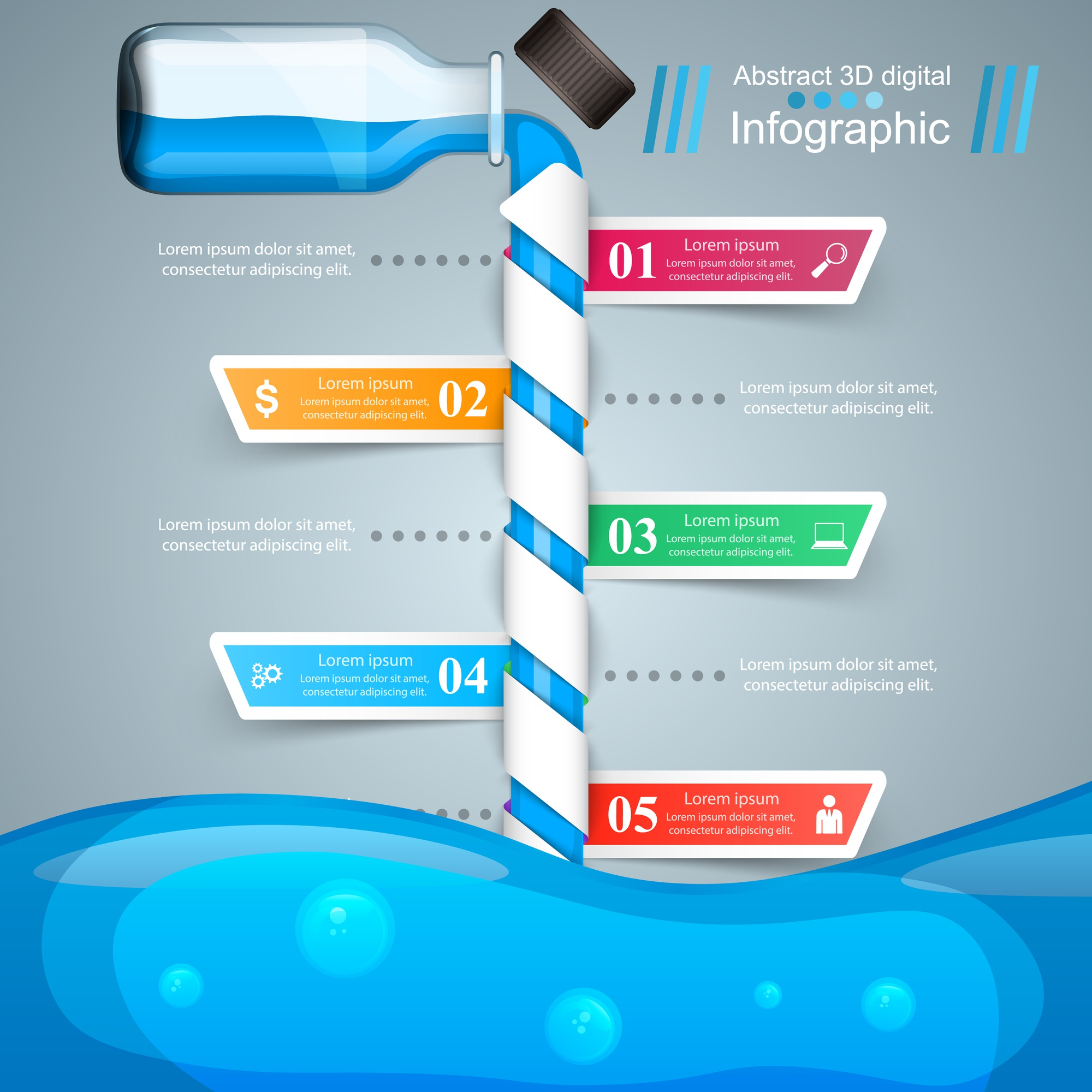 Business Infographics. Bottle, water, drink icon.