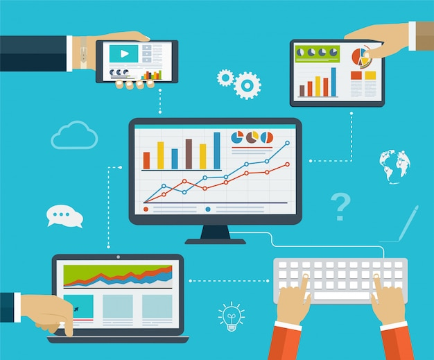 Business infographics by using modern of digital devices for internet browsing, reporting, statistical charts and graphs
