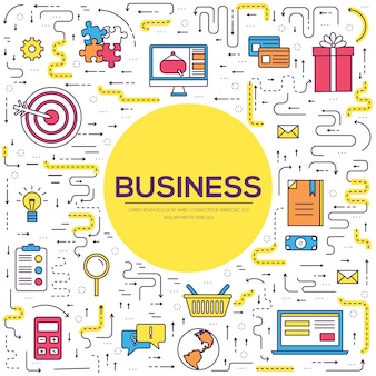 Business infographics circle fine lines of the pattern concept. web and mobile app icons.
