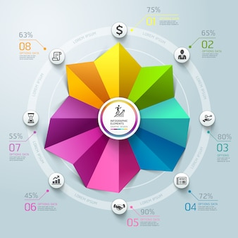 Business infographics circle graph origami style.