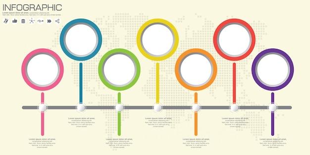 ビジネスインフォグラフィックサークル折り紙風イラスト。