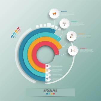 ビジネスインフォグラフィックスサークルの折り紙スタイル。