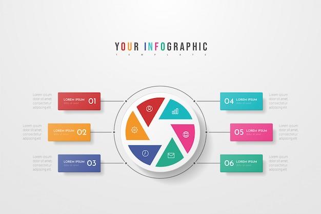 ビジネスインフォグラフィックサークルスタイル6つのオプション、手順またはプロセス。円形またはサイクルのインフォグラフィック。