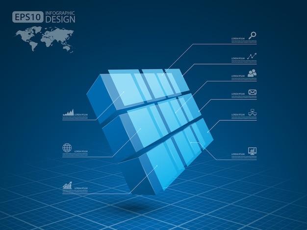 ビジネスインフォグラフィックキューブ3d、ベクトル