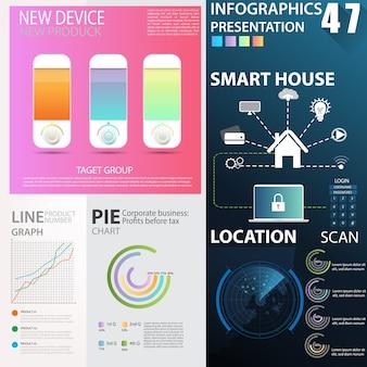 Business infographics data element templates sets