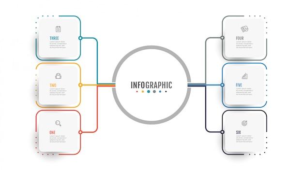 비즈니스 인포 그래픽. 데이터 시각화. 6 가지 옵션, 단계가있는 연례 보고서에 대한 창의적인 개념.