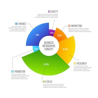 ビジネスインフォグラフィックデザイン。 6つのオプション、ステップ、またはプロセスを備えたビジネスコンセプト。