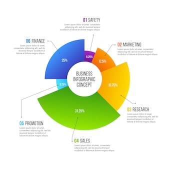 Business infographics design. business concept with 6 options, steps or processes.