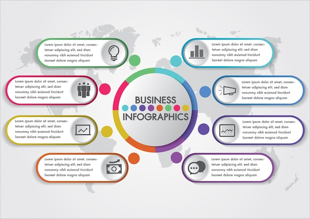 Business infographics design concept template