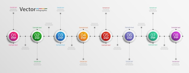 Business infographics design concept with 8 steps or options