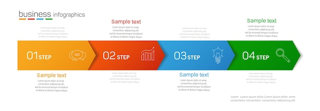 4つのオプションを持つビジネスインフォグラフィックデザインテンプレート