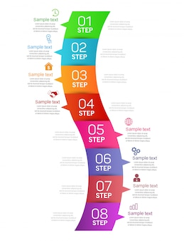 Business infographics design template with 8 steps or options
