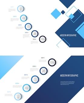 Шаблон оформления бизнес-инфографики с иконками и 5 шагами может использоваться для макета рабочего процесса