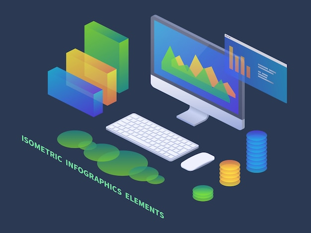 Business infographics isometric concept.   pc with data charts and statistics diagrams