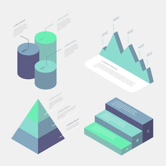 Business infographics isometric gradient blue design