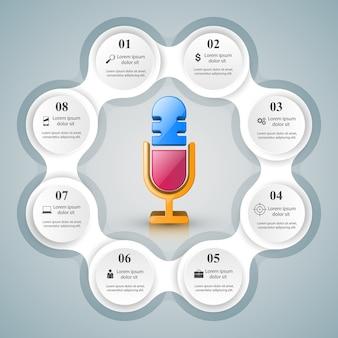 Деловая инфографика. значок микрофона. Premium векторы