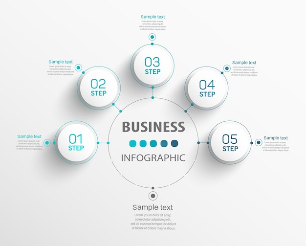 Business infographics number options template with steps
