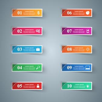 ビジネスインフォグラフィックス折り紙スタイルのベクトル図。