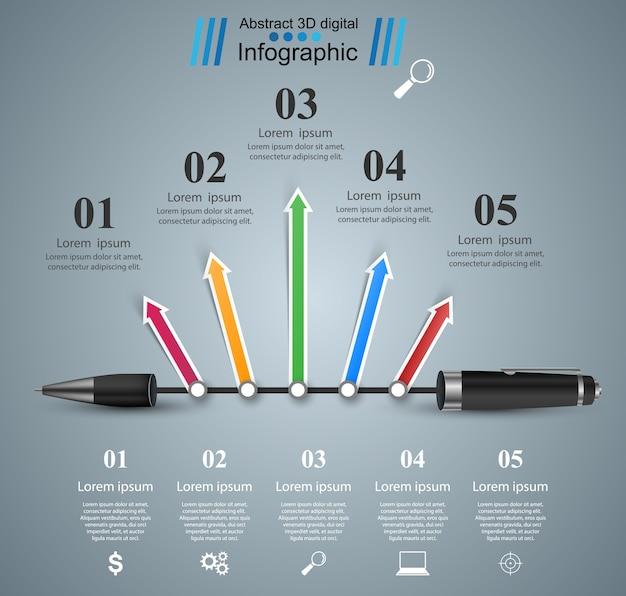 ビジネスインフォグラフィックス。ペンアイコン。