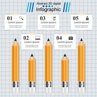 ビジネスインフォグラフィックス。鉛筆アイコン。