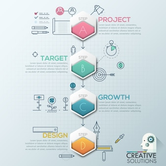 Business infographics polygon origami style