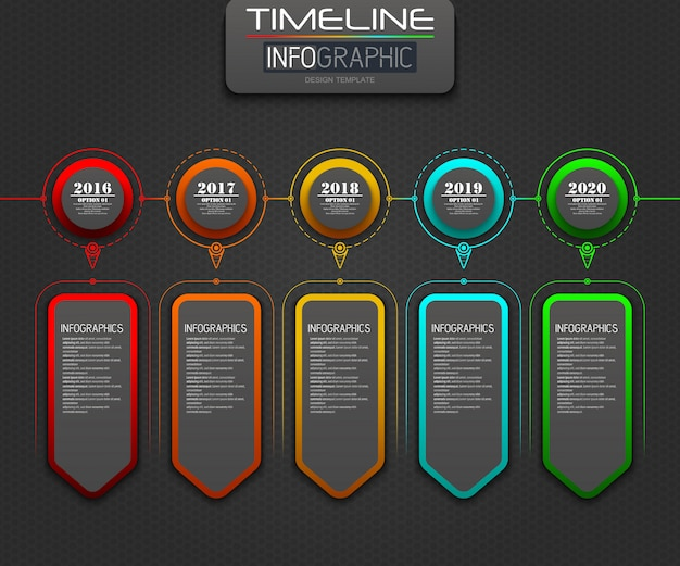 Business infographics presentation slide with 5 step options