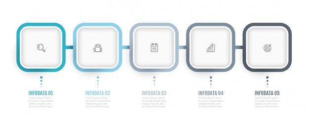 비즈니스 인포 그래픽. 프로세스 차트. 5 가지 옵션 또는 단계가 포함 된 timeline. 연례 보고서, 정보 차트, 웹 디자인에 사용할 수 있습니다.