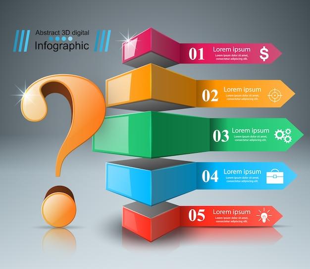 ビジネスインフォグラフィックス。疑問符。