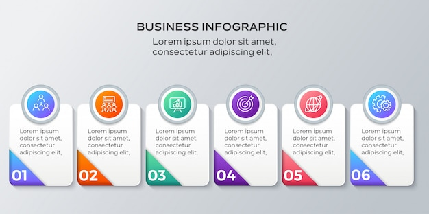 Business infographics six steps template