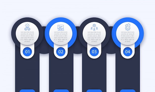 Business infographics template, 1, 2, 3, 4 steps and options