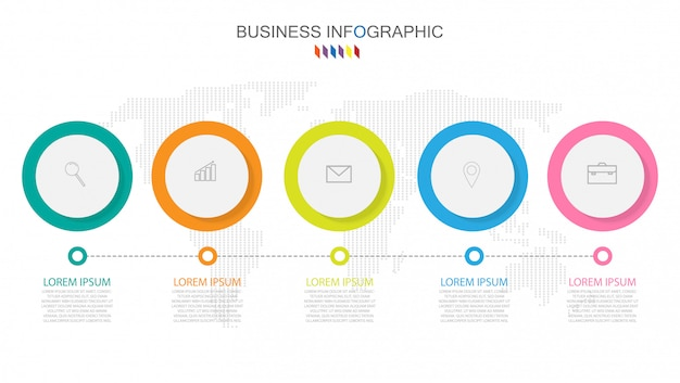 Business infographics template the concept 5 full color option.