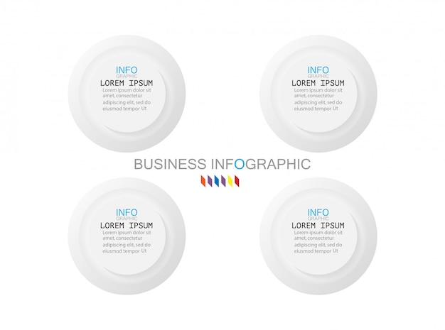 Business infographics template the concept is circle 4 option step with full color