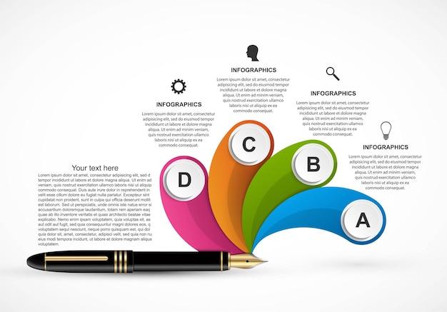 비즈니스 인포 그래픽 템플릿입니다. 비즈니스 프레젠테이션 또는 정보 배너에 대한 인포 그래픽.