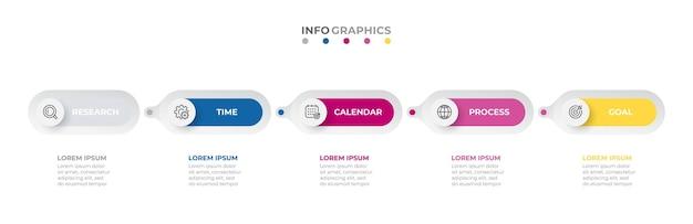 5가지 옵션 또는 단계가 있는 원 타임라인 프로세스가 있는 비즈니스 인포그래픽 템플릿 레이블 디자인