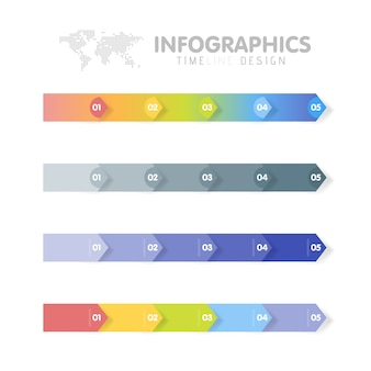 Business infographics template set. timeline with 5 arrow steps, five number options.