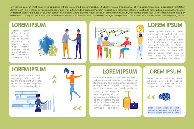 Business infographics template set with people working.