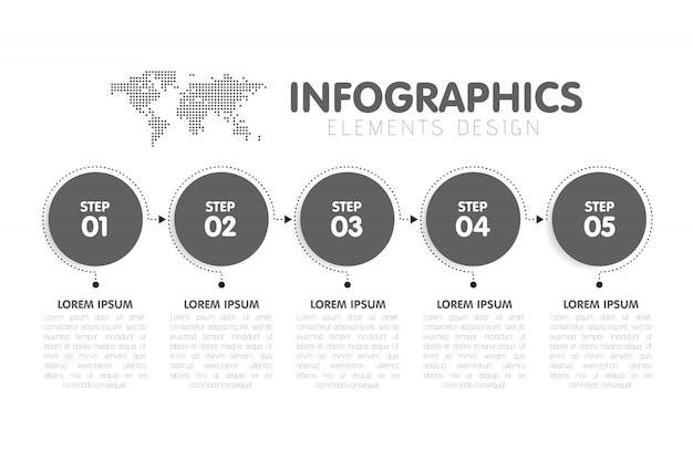 ビジネスインフォグラフィックテンプレート。 5つの丸い矢印のステップ、5つの数値オプションのあるタイムライン。バックグラウンドでの世界地図。