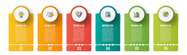 Business infographics template. timeline with 6 steps, chart and marketing icons.